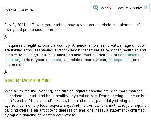 WebMD article